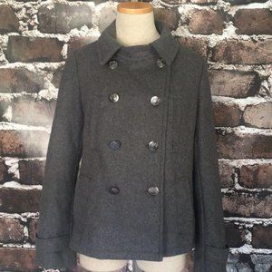 GAP Pea Coat Gray Pockets Wool Buttons Small